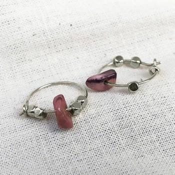 Créoles 15 mm en argent avec perles facettées et pierre fine en Rhodochrosite rose - Bijoux fins et intemporels