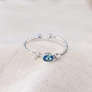 Bague martelée 2 boules en Argent sertie de deux perles fines et pierre de couleur bleue turquoise - Bijoux fins et originaux