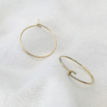 Créoles fines simples en plaqué or 15 mm- Bijoux délicat