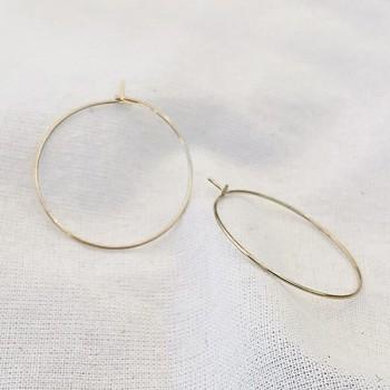 Créoles fines simples en plaqué or 30 mm- Bijoux délicat