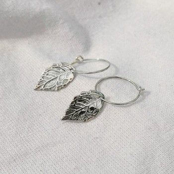 Créoles 15 mm en Argent pendentif feuille d'automne - Bijoux fins et modernes