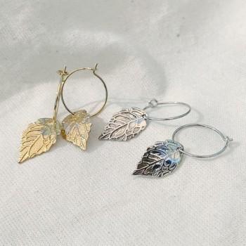 Créoles 15 mm plaqué or ou Argent pendentif feuille d'automne - Bijoux modernes