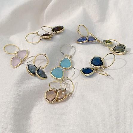 Créoles 15 mm en plaqué or avec pierres serties pendante colorées - Bijoux fins et originaux