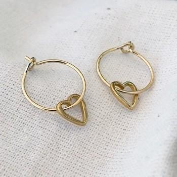 Boucles d'oreilles créoles pendentif coeur évidé en plaqué or - Bijoux fins et fantaisies