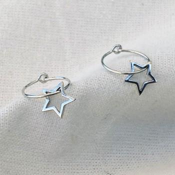 Boucles d'oreilles créoles pendentif étoile évidé en argent- Bijoux fantaisie