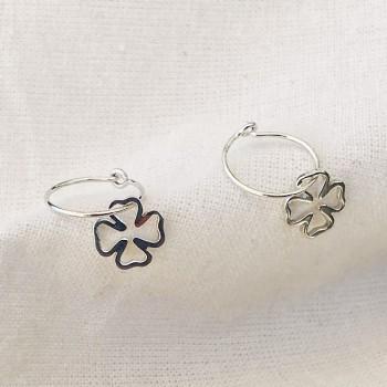 Boucles d'oreilles créoles pendentif trèfle évidé en argent -Bijoux fins et fantaisies