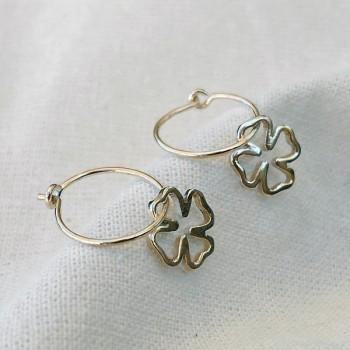 Boucles d'oreilles créoles pendentif trèfle évidé en plaqué or - Bijoux fantaisie