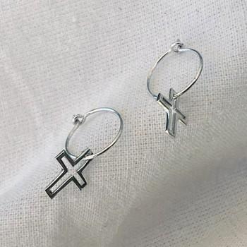 Boucles d'oreilles créoles pendentif croix évidé en argent - Bijoux fins et fantaisies