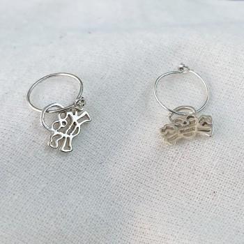 Boucles d'oreilles créoles pendentif tête de mort évidé en argent - Bijoux fins et fantaisies