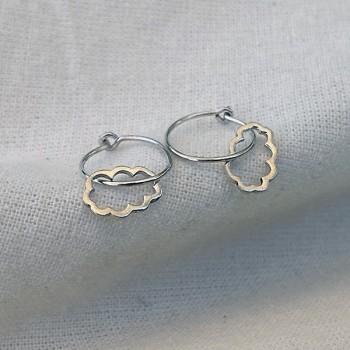 Boucles d'oreilles créoles pendentif nuage évidé en argent - Bijoux fins et fantaisies