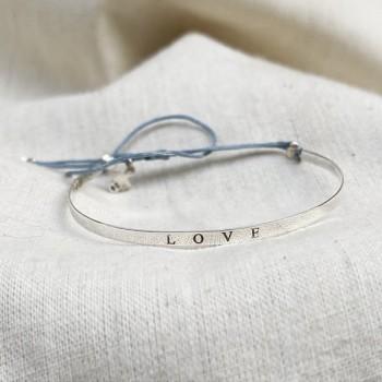 Jonc fin message love gravé en argent - Bijoux fins de créateur