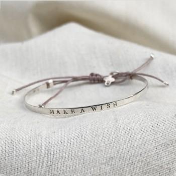 Jonc gravé message Make a wish en argent - bijoux fins et intemporels