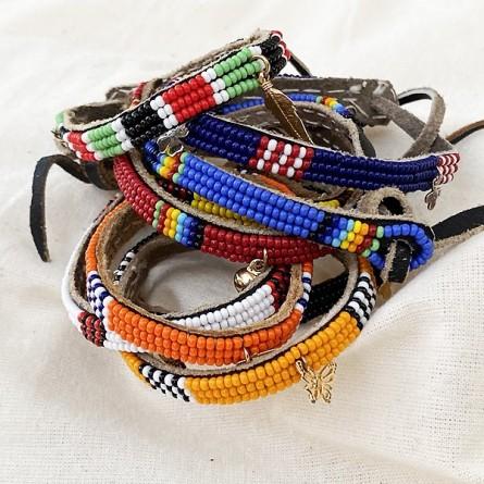 Bracelet Massaï sur cuir perlé coloré - Bijoux Ethnique