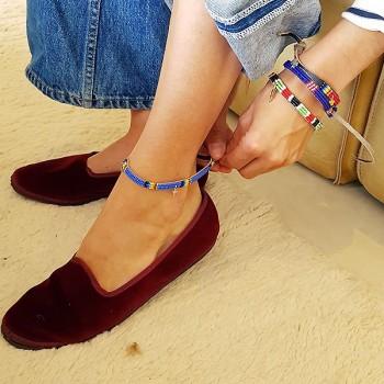 Bracelet sur cuir perlé coloré et breloques - Bijoux Ethniques originaux