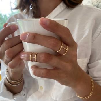 Bague manchette et bague de phalange en plaqué or taille adaptable - Bijoux modernes - Gag and Lou - Bijoux fantaisie