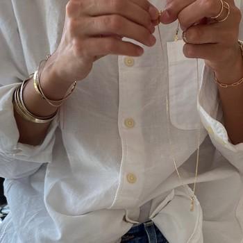 Jonc fin martelé en plaqué or ajustable - Bijoux fins et fantaisies