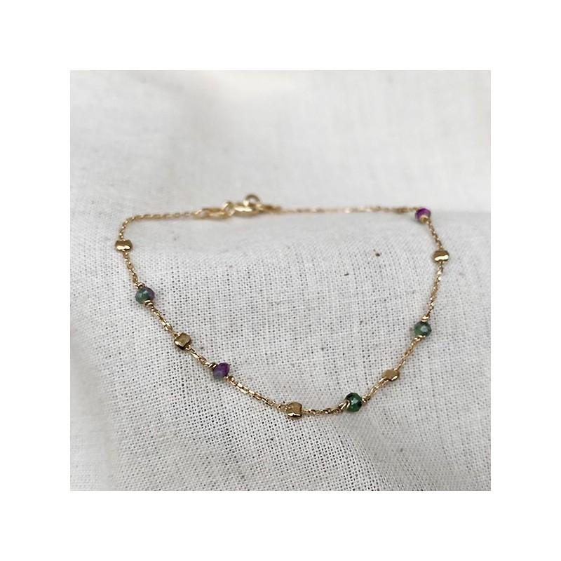 Bracelet sur chaine perlée en plaqué or et pierres fines en Rubis soizite - Bijoux fantaisie