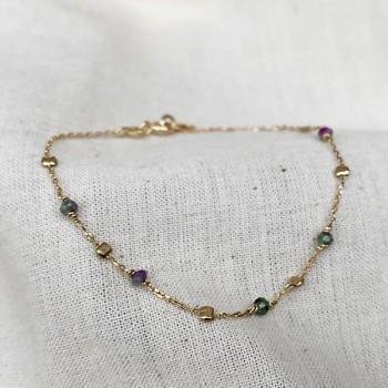Bracelet sur chaine perlée en plaqué or et pierres fines en Rubis soizite - Bijoux fins et tendances