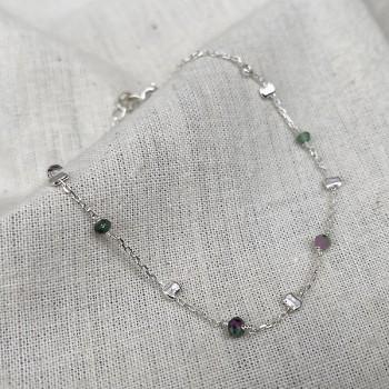 Bracelet sur chaine perlée en argent et pierres fines en rubis soizite - Bijoux fins et tendances