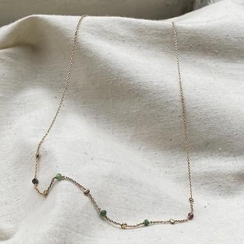 Collier sur chaine perlée en plaqué or et pierres fines en rubis soizite - Bijoux fins et fantaisies tendances
