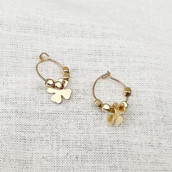 Créoles plaqué or avec perles facettées pendentif trèfle - Bijoux modernes