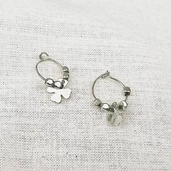 Créoles en argent avec perles facettées pendentif trèfle - Bijoux fins et fantaisies