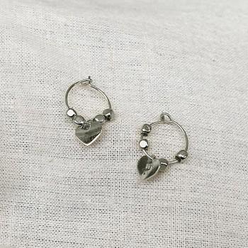 Créoles en argent avec perles facettées pendentif coeur - Bijoux fins et fantaisies