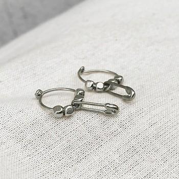 Créoles en argent avec perles facettées pendentif épingle à nourrice  - Bijoux fins et fantaisies