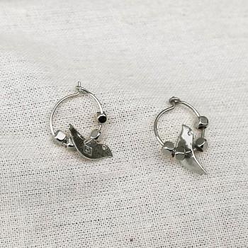 Créoles en argent avec perles facettées pendentif oiseau - Bijoux fins et fantaisies