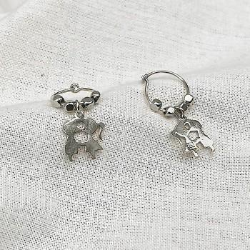 Créoles en argent avec perles facettées pendentif amoureux - Bijoux fins et fantaisies