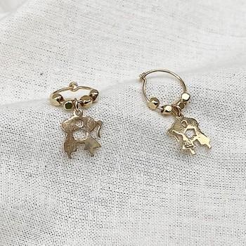 Créoles en plaqué or avec perles facettées pendentif amoureux - Bijoux modernes