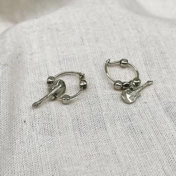 Créoles en argent avec perles facettées pendentif guitare - Bijoux fins et fantaisies