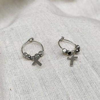 Créoles en argent avec perles facettées pendentif croix - Bijoux fins et fantaisies