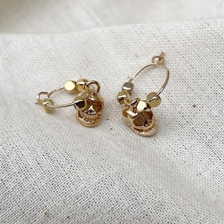 Créoles en plaqué or avec perles facettées pendentif tête de mort - Bijoux fins et fantaisies