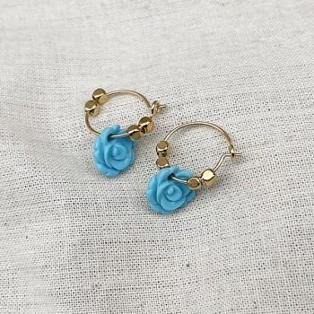 Créoles en argent avec perles facettées pendentif fleur rose turquoise - Bijoux modernes