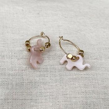 Créoles en plaqué or avec perles facettées pendentif éléphant nacré rose - Bijoux modernes