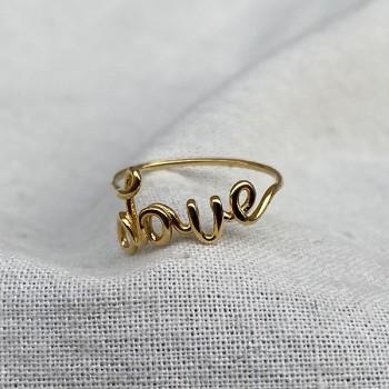 Bague Love avec message manuscrit en plaqué or - Bijoux modernes - Gag and Lou - bijoux fantaisie