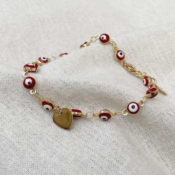 Bracelet color eyes mini-charms rouge en plaqué or - bijoux modernes - gag et lou - bijoux fantaisie