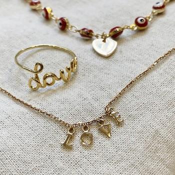 Bracelet sur chaine œil rouge en plaqué or - Bijoux fins et fantaisies