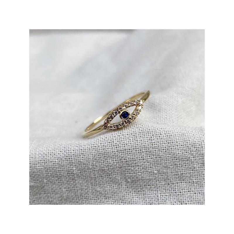Bague Oeil / blue eye en plaqué or sertie de zirconium colorés - Bijoux moderne - Gag and Lou - bijoux fantaisie