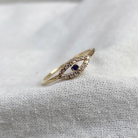 Bague Oeil / blue eye en plaqué or sertie de zirconium colorés - Bijoux tendances de créateur