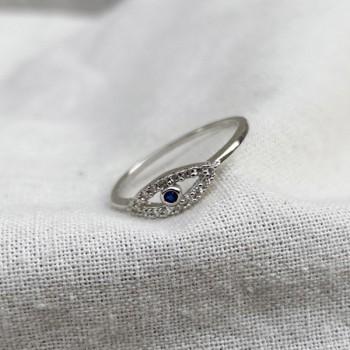 Bague Oeil / blue eye en argent sertie de zirconium colorés - Bijoux tendances de créateur