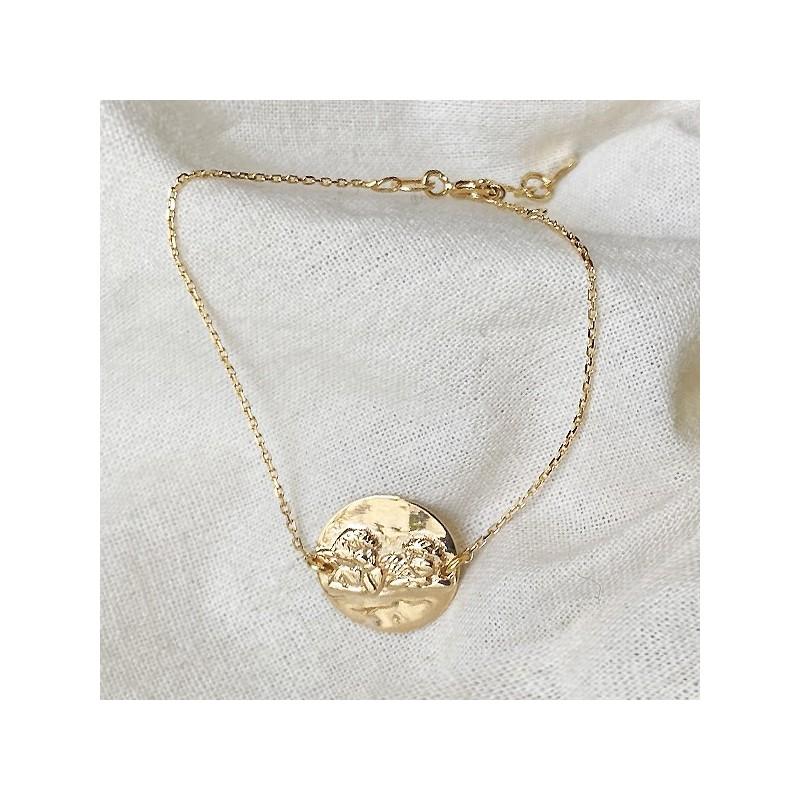 Bracelet médaille Ange sur chaine en plaqué or - Bijoux moderne