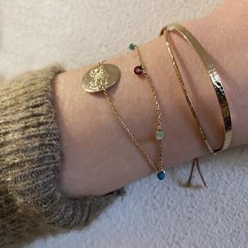 Bracelet médaille Ange ronde sur chaine fine en plaqué or - Bijoux fins et fantaisies tendances