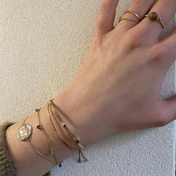 Bracelet sur chaine plaqué or orné de pierres fines multicolore - Bijoux tendance