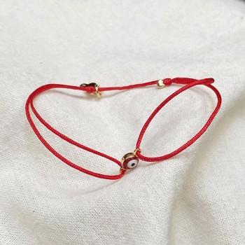 Bracelet œil en plaqué or sur lien rouge ajustable - Bijoux fins et fantaisies tendances