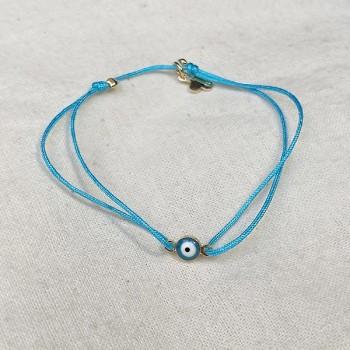 Bracelet œil en plaqué or sur lien turquoise ajustable - Bijoux fins et fantaisies tendances