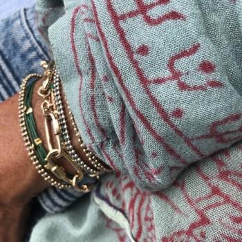 Bracelet lien de couleur perles en argent ou plaqué or - Bijoux fantaisie