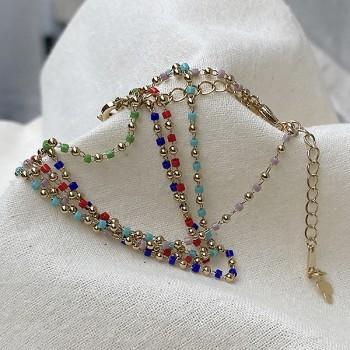 Bracelet sur chaine plaqué or et perles de couleur - Bijoux fins et fantaisies