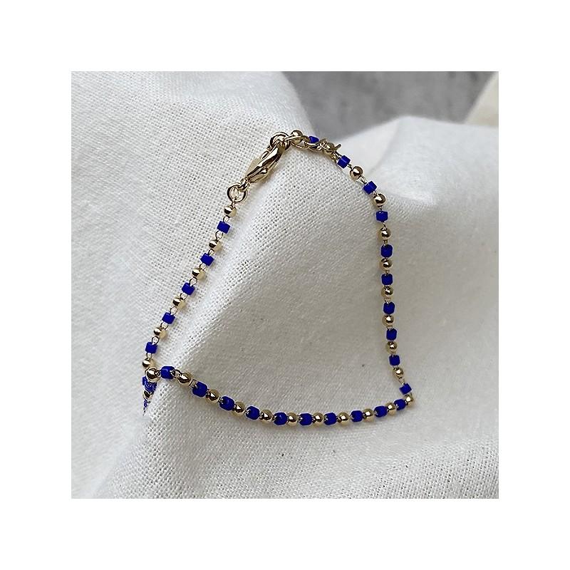 Bracelet sur chaine plaqué or et perles bleu klein - Bijoux fins et fantaisies